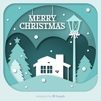 Weihnachtshintergrund in der papierschnittart