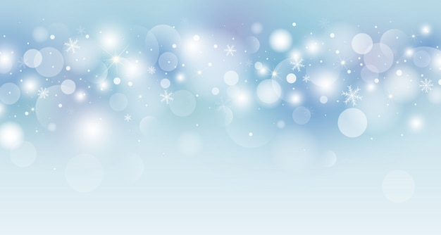 Weihnachtshintergrund-konzeptdesign der weißen schneeflocken- und bokeh-lichtvektorillustration