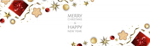 Weihnachtshintergrund, kreative designgrußkarte, fahne, plakat, draufsichtgeschenkbox, weihnachtsbälle, sterne und schneeflocken,