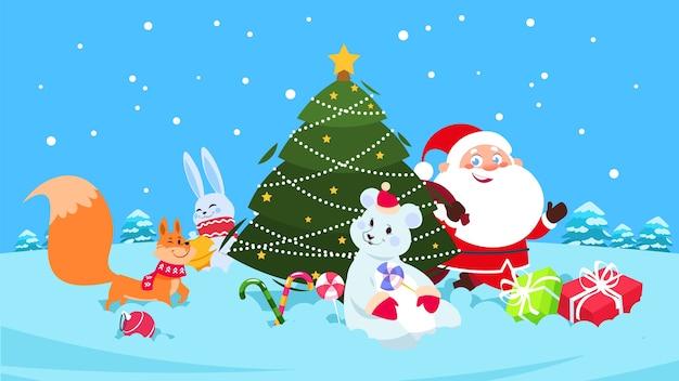 Weihnachtshintergrund. lustige schneetiere, weihnachtsbaum, santa zeichentrickfiguren. eisbär, fuchs, kaninchen und süßigkeiten.
