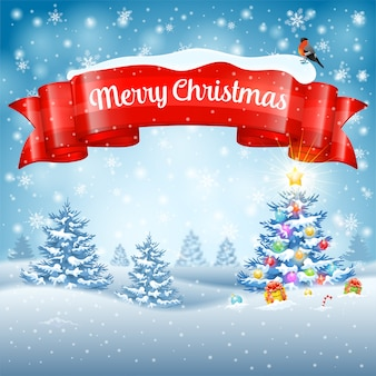 Weihnachtshintergrund mit baum, geschenken, band, schneeflocken und gimpel auf schneebedecktem hintergrund.