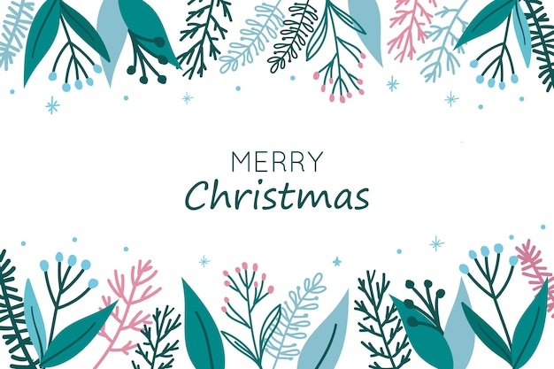 Weihnachtshintergrund mit blättern und blumen oben und unten