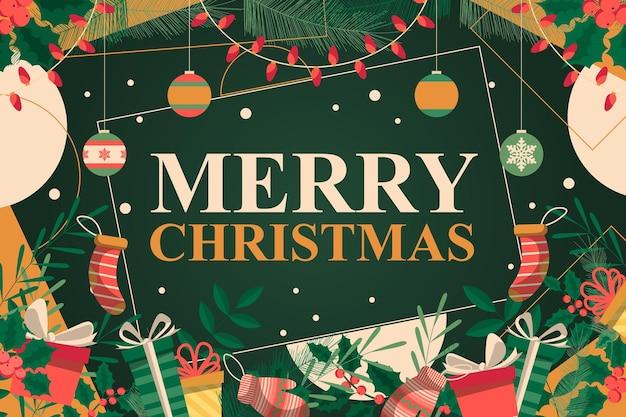 Weihnachtshintergrund mit blättern und geschenkbox. vektor-illustration.