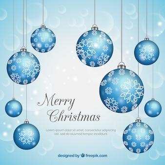 Weihnachtshintergrund mit blauen kugeln