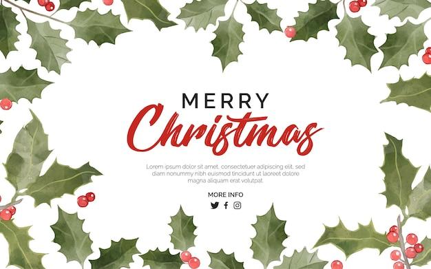 Weihnachtshintergrund mit blumenaquarell