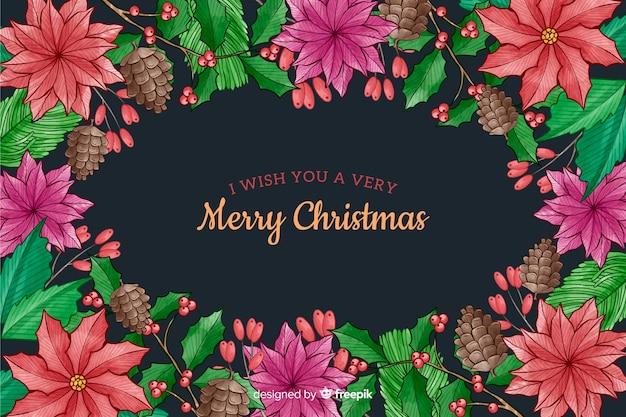 Weihnachtshintergrund mit blumenaquarellart