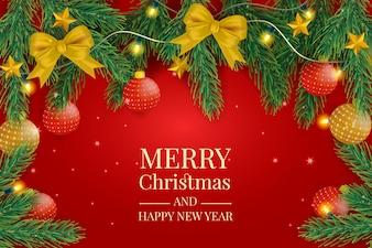 Weihnachtshintergrund mit dekorativen Kugeln