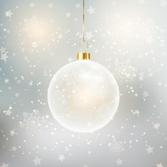 Weihnachtshintergrund mit dekorativer hängender kugel
