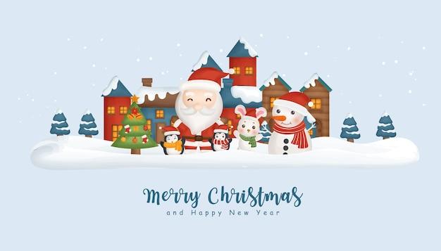 Weihnachtshintergrund mit dem schneedorf, weihnachtsmann und freunden.