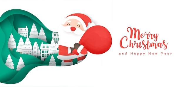 Weihnachtshintergrund mit einem niedlichen weihnachtsmann im schneedorf im papierschnittstil.