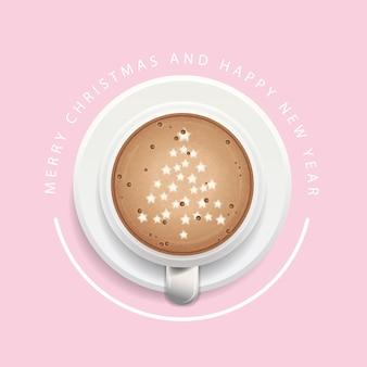 Weihnachtshintergrund mit einem tasse kaffee