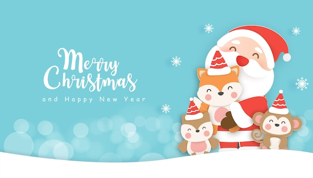 Weihnachtshintergrund mit einer niedlichen weihnachtsmannklausel, die niedliche tiere hält.