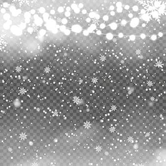 Weihnachtshintergrund mit fallenden schneeflocken auf transaprent. vektor