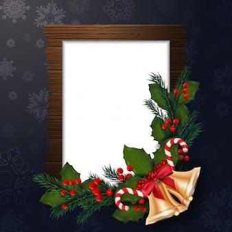 Weihnachtshintergrund mit feld und dekorationen