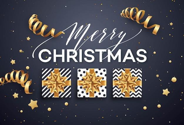Weihnachtshintergrund mit geschenkbox mit goldbogen.
