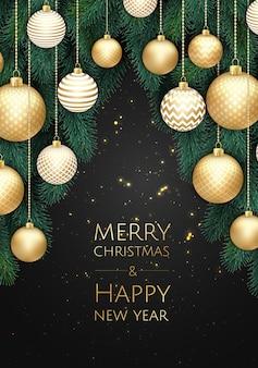Weihnachtshintergrund mit geschenkbox, schneeflocken und bällen entwerfen.