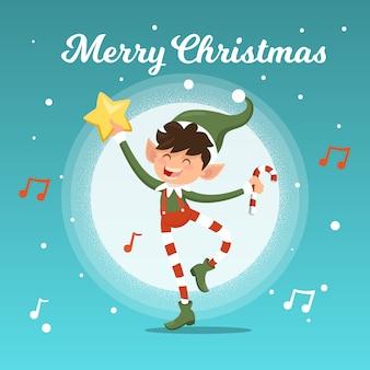 Weihnachtshintergrund mit glücklicher elfe