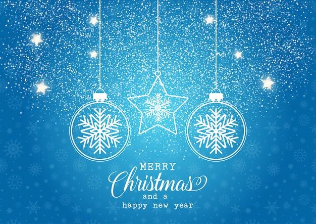 Weihnachtshintergrund mit hängendem flitter mit schneeflockendesign