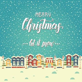 Weihnachtshintergrund mit häusern und gruß des handgemachten zitats
