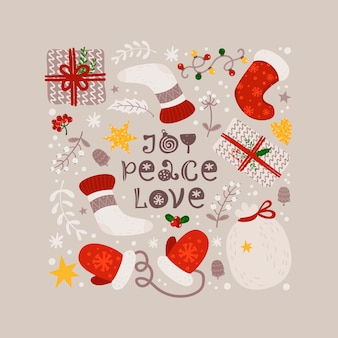 Weihnachtshintergrund mit handschuhen, socken und geschenken