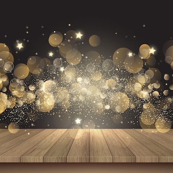 Weihnachtshintergrund mit holztisch und goldenen lichtern
