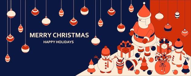 Weihnachtshintergrund mit isometrischen niedlichen spielzeugen. lustiger weihnachtsmann und schausteller. weihnachtsgrußkarte