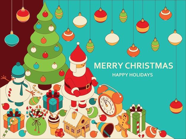 Weihnachtshintergrund mit isometrischen niedlichen spielzeugen. lustiges weihnachtsmann- und lebkuchenhaus