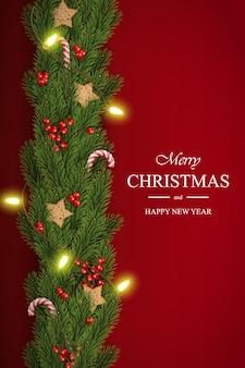 Weihnachtshintergrund mit kiefernniederlassungen und -beeren