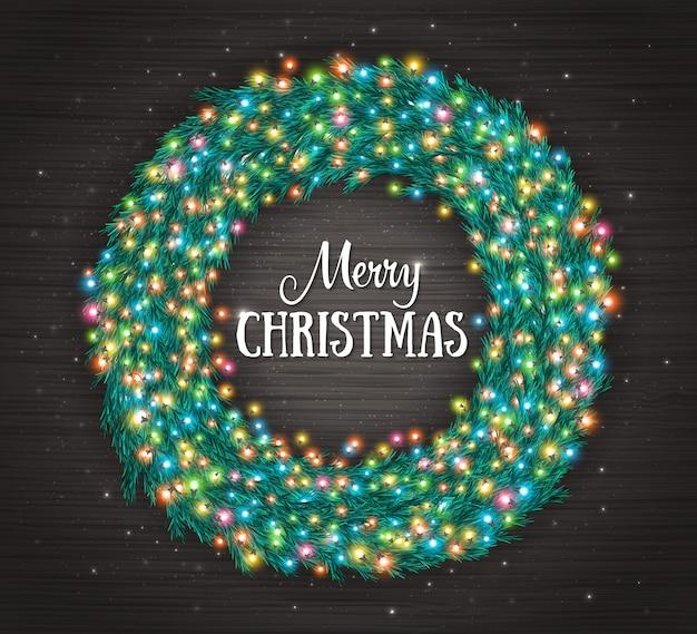 Weihnachtshintergrund mit kranz und bunten glühenden weihnachtslichtern