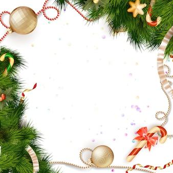 Weihnachtshintergrund mit kugeln.
