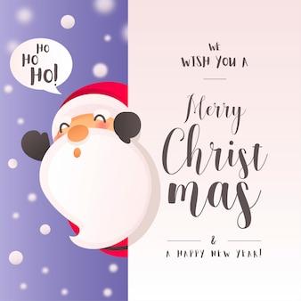 Weihnachtshintergrund mit lustigem santa claus character