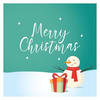 Weihnachtshintergrund mit lustigem schneemann
