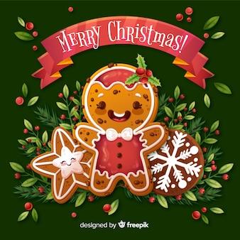 Weihnachtshintergrund mit nettem lebkuchen