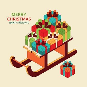 Weihnachtshintergrund mit niedlichem isometrischem weihnachtsmannschlitten mit geschenken