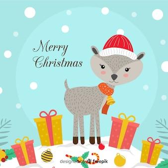 Weihnachtshintergrund mit niedlichen rotwild