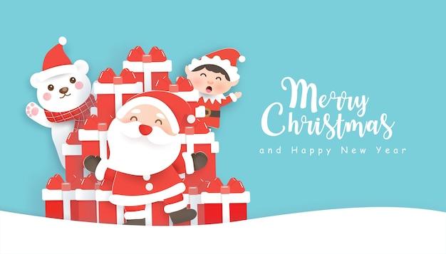 Weihnachtshintergrund mit niedlicher weihnachtsmannklausel, freunden und geschenkboxen.