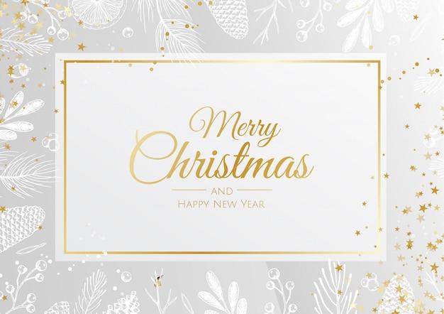 Weihnachtshintergrund mit pflanzenblättern und goldenen details