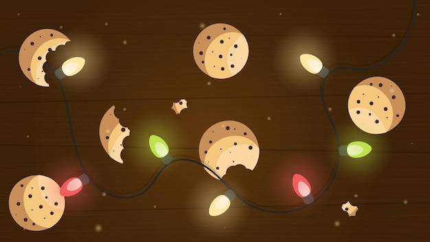 Weihnachtshintergrund mit plätzchen weihnachtsgebäck plätzchenbonbons auf dem tisch