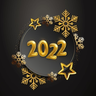 Weihnachtshintergrund mit rahmen aus goldsternen, schneeflocken und glitzer. realistische feiertagsvektorillustration von goldenen metallischen zahlen 2022