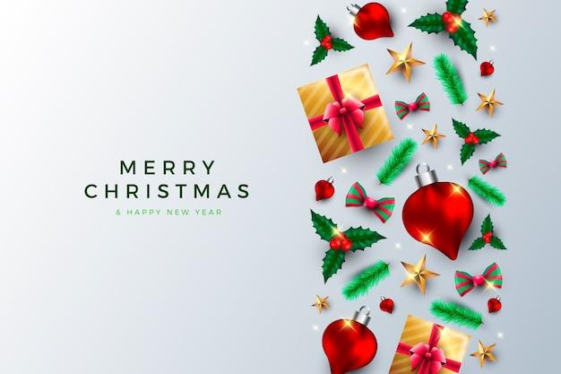 Weihnachtshintergrund mit realistischen geschenken und kugeln