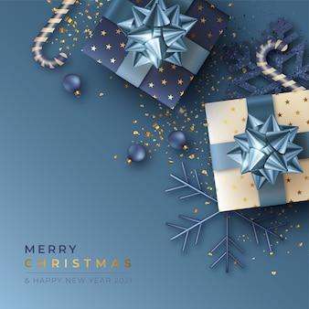 Weihnachtshintergrund mit realistischen geschenken