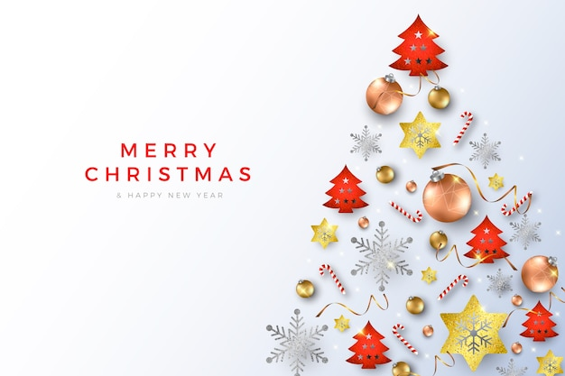 Weihnachtshintergrund mit realistischen kugeln und zuckerstangen