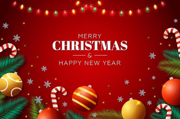 Weihnachtshintergrund mit realistischer dekoration
