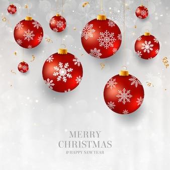 Weihnachtshintergrund mit roten weihnachtsflittern