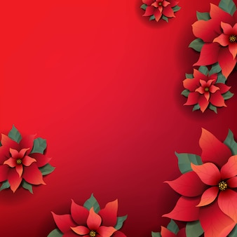 Weihnachtshintergrund mit roten weihnachtssternblumen