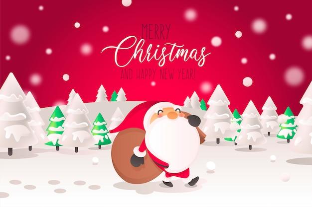 Weihnachtshintergrund mit santa character in der landschaft