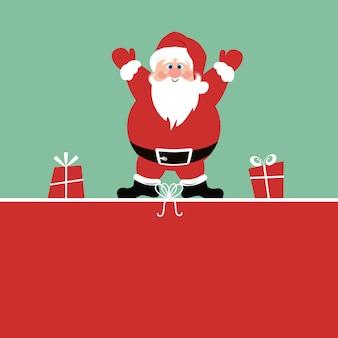 Weihnachtshintergrund mit santa claus und geschenken