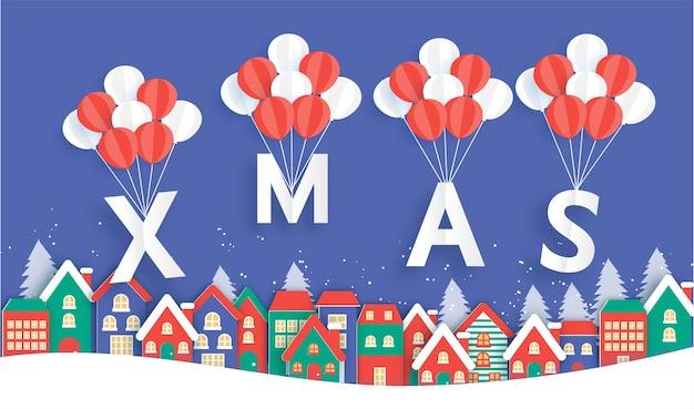 Weihnachtshintergrund mit schneedorf im papierschnittstil.