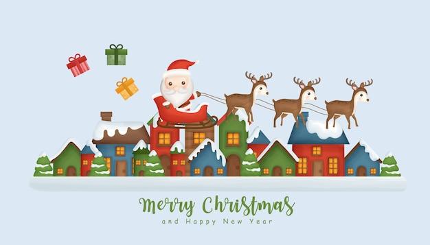 Weihnachtshintergrund mit schneedorf und weihnachtsmann.