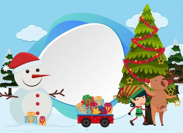 Weihnachtshintergrund mit schneemann und baum